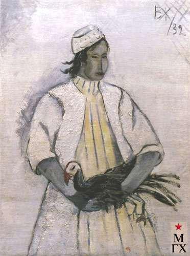 Каптерев В. В. Казашка с птицей. 1932. Х.М. 56х39