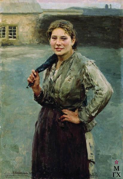 Картина : Н.А. Касаткин. Шахтерка. 1894. Холст, масло. 65.4x45. ГТГ