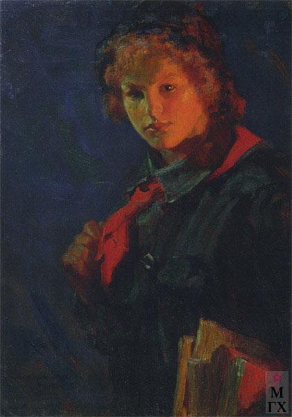Картина : Н.А. Касаткин. За учебу (Пионерка с книгами). 1926. Холст, масло.