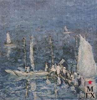 Кашкин В. И. Яхты на Волге (Яхт-клуб). 1926. Фанера.М.. 33х32.