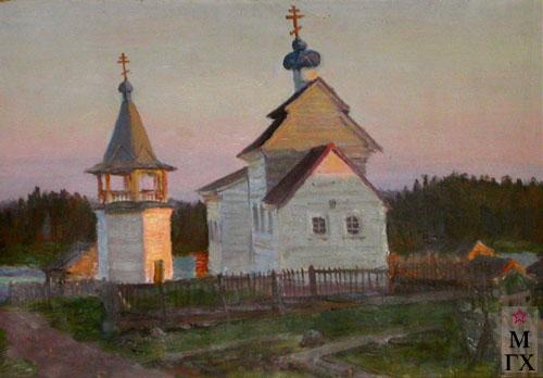 Г. В. Кибардин. Никольская церковь в селе Ковда на Белом море (этюд к картине