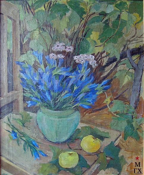 Вера Кизевальтер. Цветы в саду, хм, 1936.