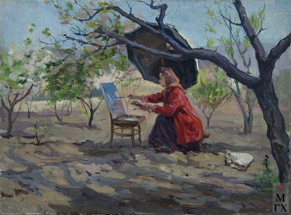 Б.А. Колозян. Картина : Художница Мариам Асламазян. 1956