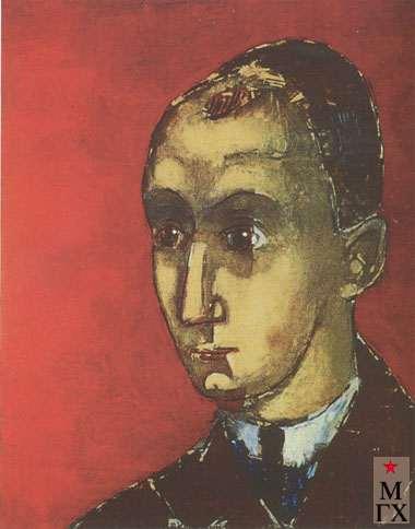 Комаровский В. А. Автопортрет на красном фоне. 1923-1924. Х.М. 42.5х33.5. Нукус