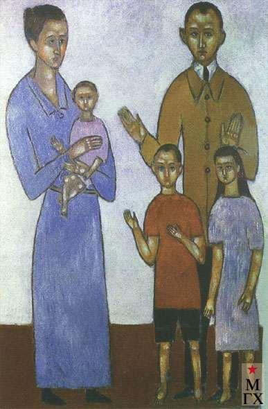 Комаровский В. А. Семейный портрет. Начало 1930-х. К.М. 77х54.5. Нукус