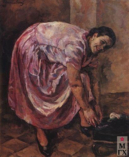 П. П. Кончаловский. Портрет дочери в розовом платье. 1925. Х.М. 133x111. ГТГ, Москва