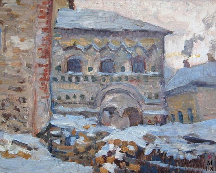 Коробов А. А. Зима во дворе Борисоглебского монастыря. 1972. К.М. 25х34. Брянский худ. музей