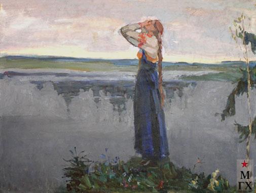 Коробов А. А. Дева Феврония у озера Светлояр (эскиз к картине). 1969. 36х46.