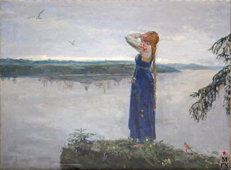 Коробов А. А. Плач Февронии у озера Светлояр. 1975. Х.М. 117х195.