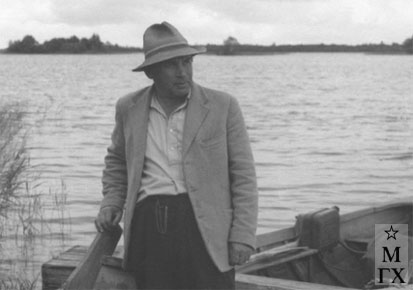 А.А. Коробов на этюдах в Кижах. 1960-е гг.
