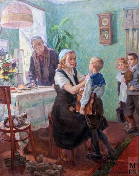 Коробов А. А. Первокласник. 1948. Х.М. 86х68. Переяславский музей-заповедник.