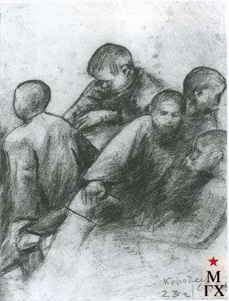 Коротеев В. А. Беспризорники. 1923. Б.Кар.17х12.2 ГМИИ