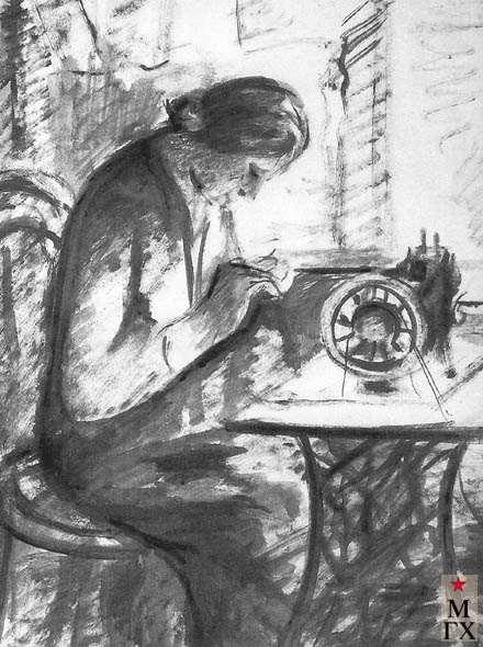 Костюхин Г. В. За шитьем. Начало 1930-х. Б.Сепия. 48.6х38.3 ГМИИ