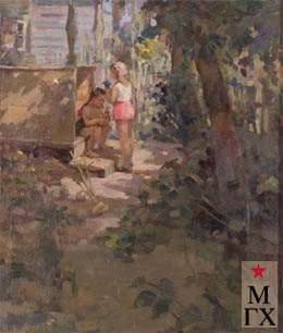 З.А. Кожевникова. Ира и Инна на даче. 1938. Х.М. 92х76.