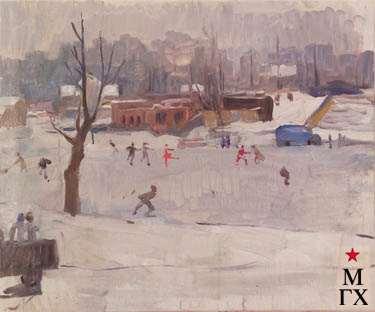 З.А. Кожевникова. Каток на Динамо. 1944. Х.М. 52.5х62.5