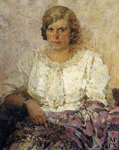 П.И.Котов. Портрет жены - художницы З.А. Кожевниковой-Котовой. 1947. Х.М. 88х71.