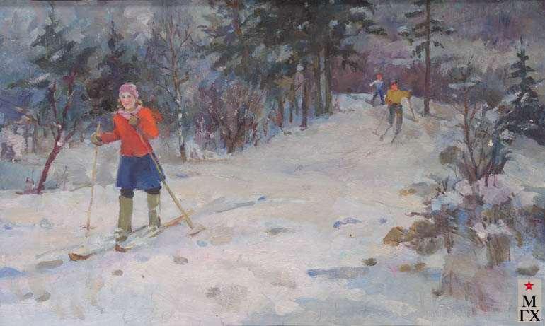 З.А. Кожевникова. На лыжах. 1948.  Х.М. 60х87.