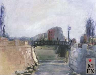 Козлов А. Н. Мост через Яузу. 1934. Х.М. 60х80. ГТГ