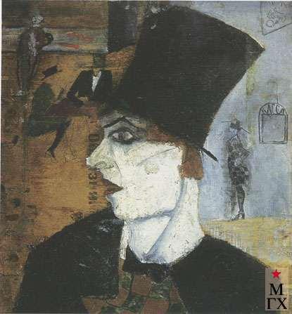 Козлов А. Н. Персонаж в цилиндре. 1920-е. К.М. 54х45. Нукус