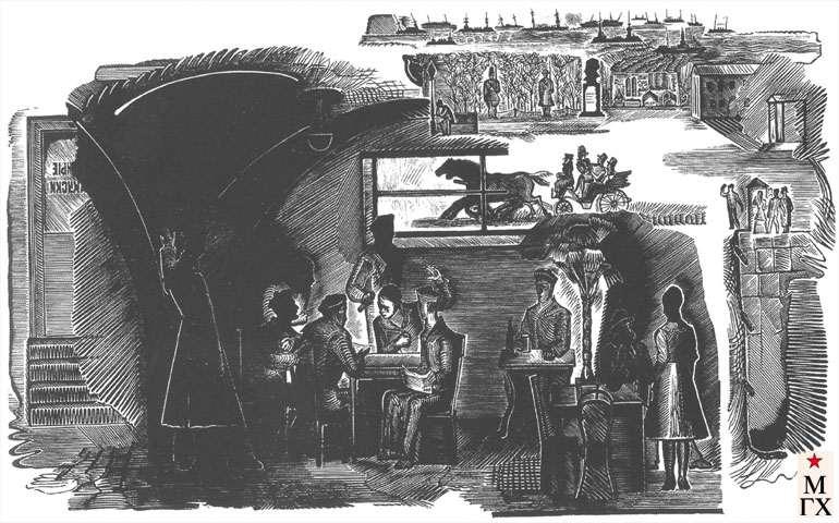 Кравцов А. А. Оккупация Одессы. 1927. Ксилография. 17.6х21.6 ГМИИ