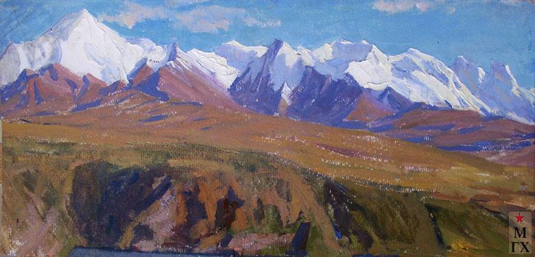 Т.М. Марченко. В горах Тянь-Шаня. 1976. К.М. 30х70.