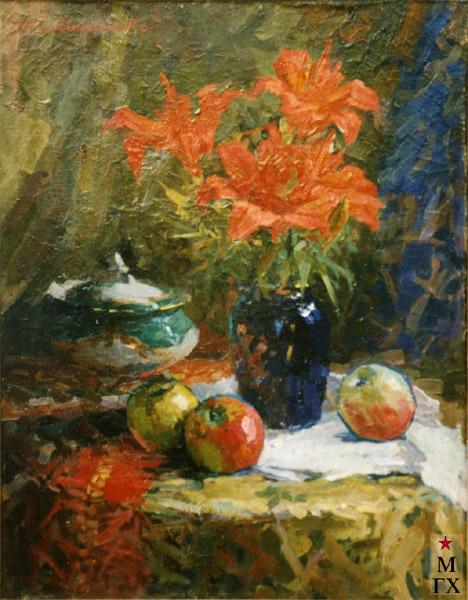 Т.М. Марченко. Голубая ваза. Натюрморт.