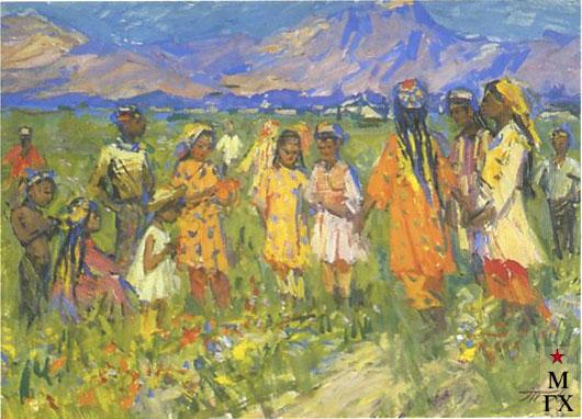 Т.М. Марченко. Узбекские дети в поле. 1963. К.М. 49х70.