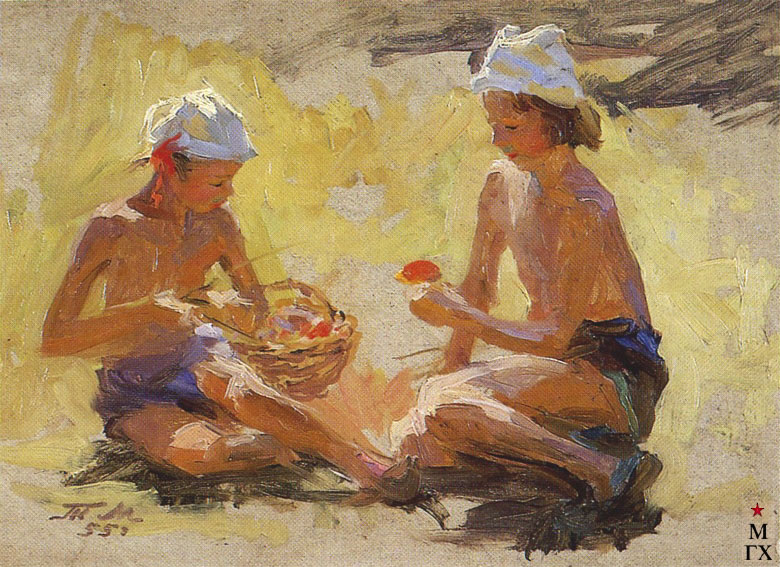Т.М. Марченко. Разбирают грибы. 1955. К.М. 24х35.