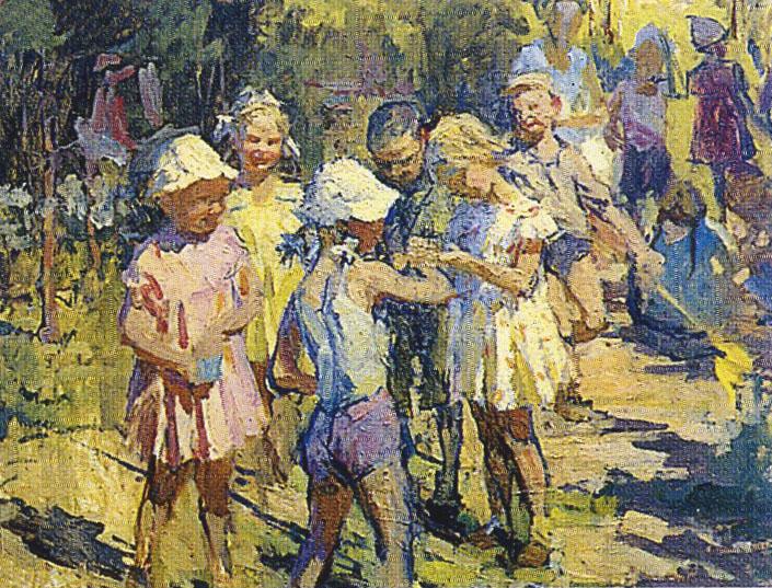 Т.М. Марченко. В детском саду. 1967. К.М. 50х65.