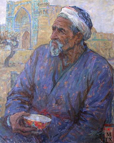 Т.М. Марченко. Старый узбек. 1975. К.М. 80х65.