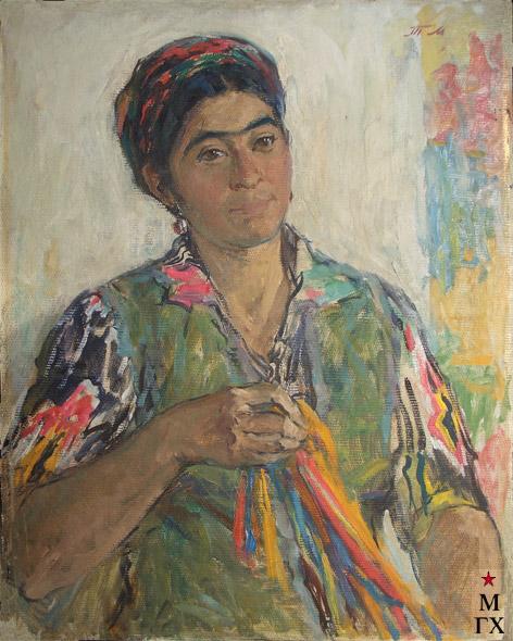 Т.М. Марченко. Узбечка-ковровщица. 1973. К.М. 70х55.
