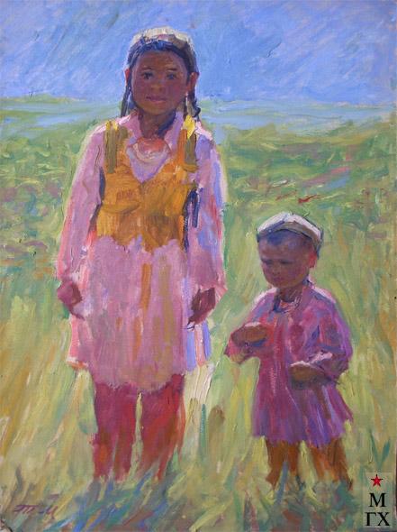 Т.М. Марченко. Узбекские дети. 1973. К.М.