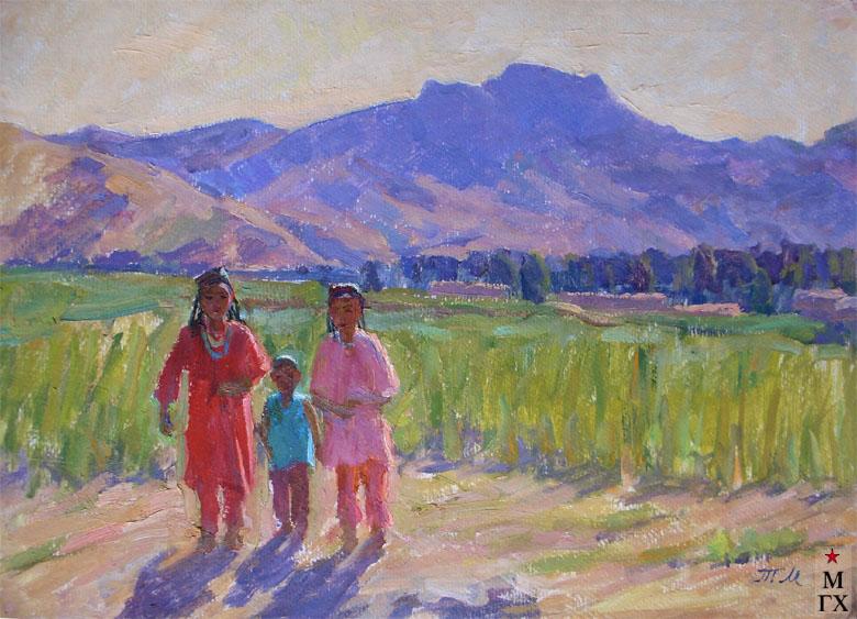 Т.М. Марченко. Узбекские дети в поле. 1973. К.М. 42х60.