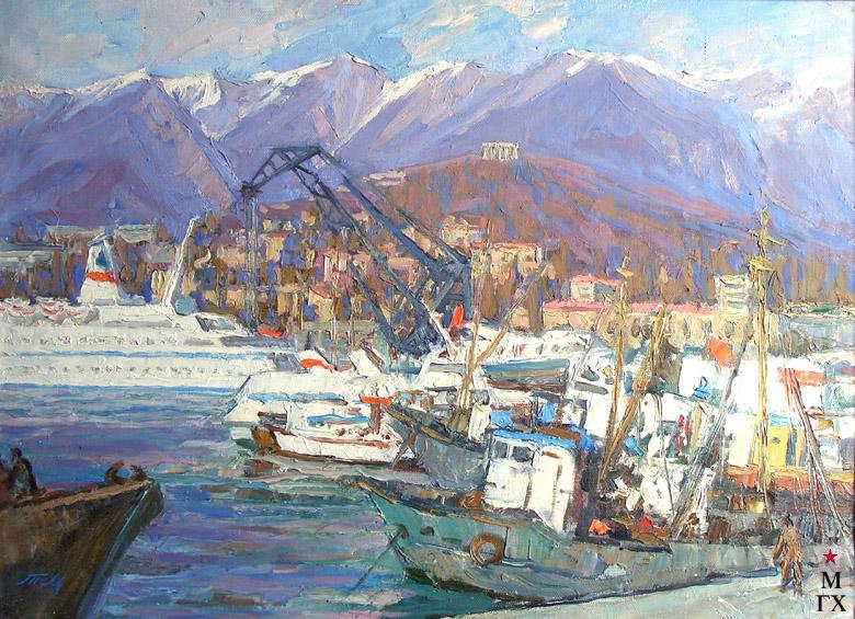 Т.М. Марченко. В Ялтинском порту. 1983. Х.М. 50х70.