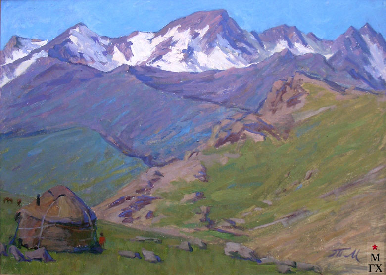 Т.М. Марченко. Юрта в горах Тянь-Шаня. 1976. К.М. 53х70.