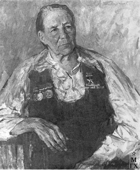 Т.М. Марченко. Почетный колхозник, Герой Социалистического Труда доярка М.В. Корнева. 1977. Х.М. 80х65