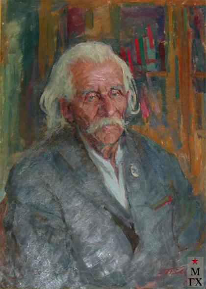 Т.М. Марченко. Портрет секретаря Л.Н. Толстого В. Лебрена. 1963. К.М. 70х50.