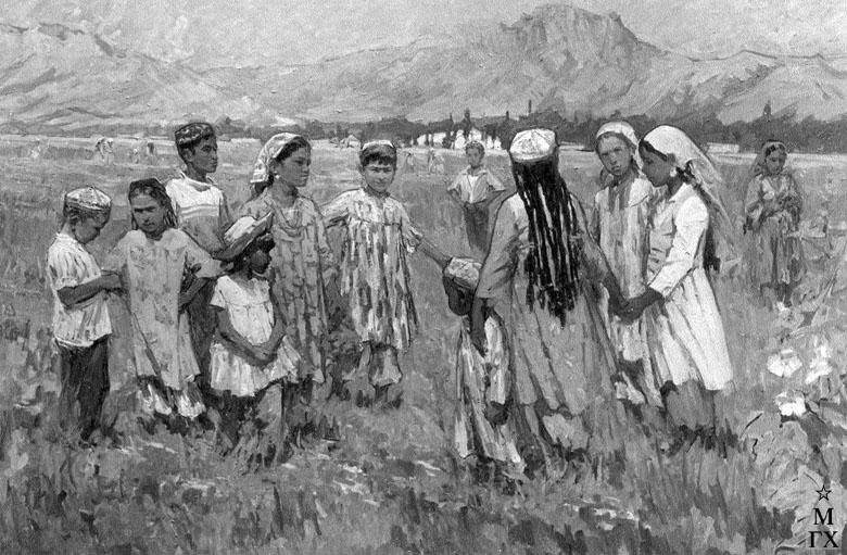 Т.М. Марченко. Пейзаж с детьми. Узбекская ССР, пос. Кара-Тепэ. 1969. Х.М. 120х180.