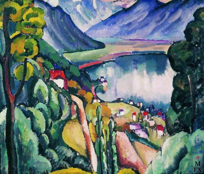 Машков И.И. Картина : Женевское озеро. Глион. 1914. Холст, масло. 102.5x116. Государственная Третьяковская галерея.