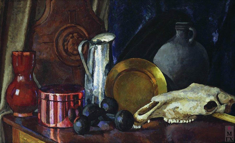 Машков И.И. Картина : Натюрморт с лошадиным черепом. 1914. Холст, масло. 89x142. ГРМ.