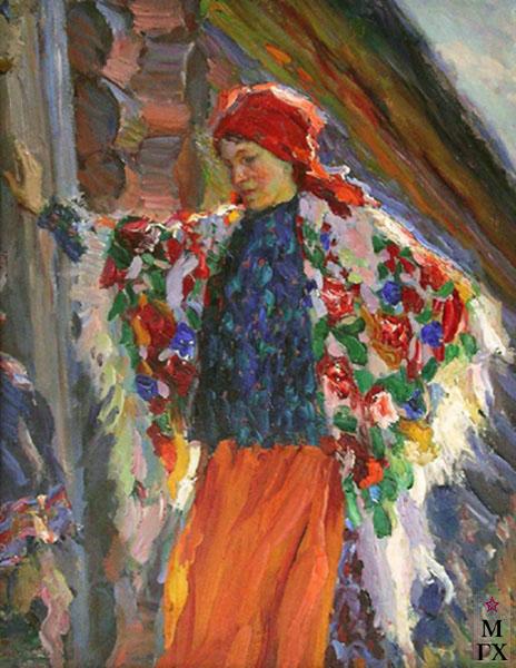 А.В. Моравов. Картина : Крестьянка в красной косынке. 1918. 49x64.