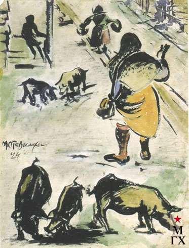 Накаряков А. К Мотовилиха. 1924. Б.Гуашь. 31х22.6
