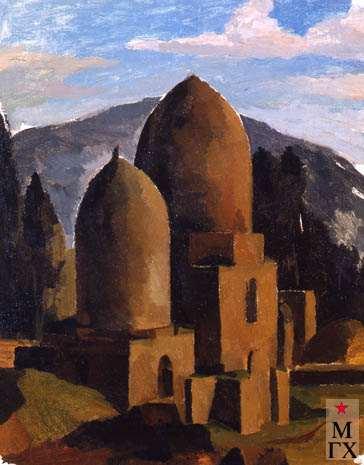А.Нюренберг. Двукупольная мечеть. 1923. Х.М. 41х34.