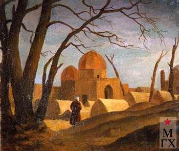 А.М. Нюренберг. Мечеть с мужской фигурой. 1923. Х.М. 33х40.