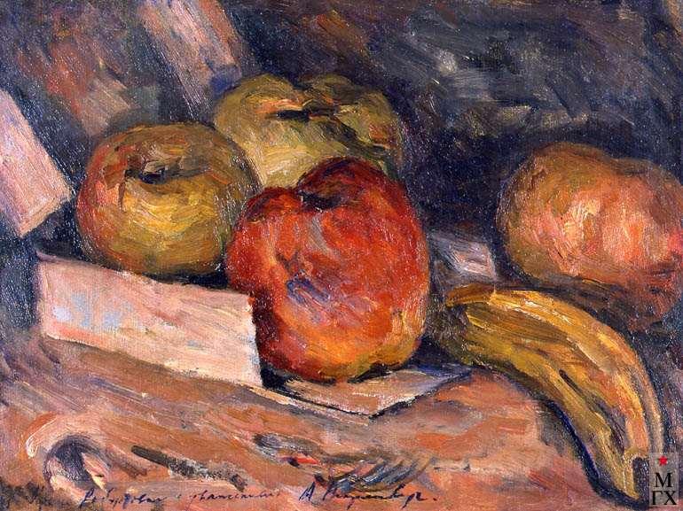 А.М. Нюренберг. Банан и яблоки. 1930. Х.М. 24х32.