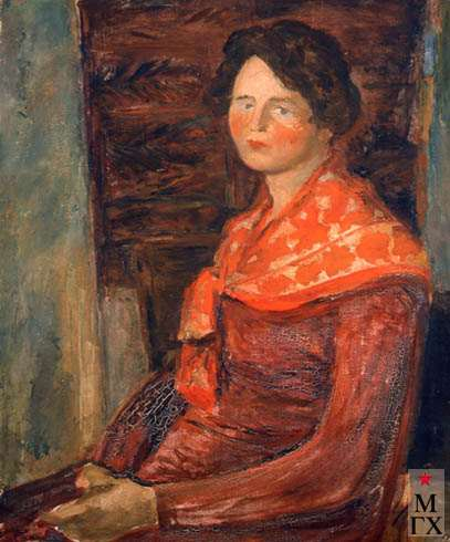 А.Нюренберг. Портрет жены в красном. 1930. Х.М. 80х64.