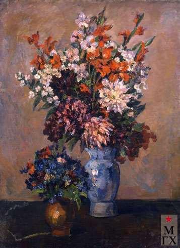 А.М. Нюренберг. Натюрморт с вазами цветов. 1940. Х.М. 88х72.