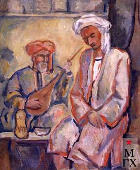 А.Нюренберг. Узбекские музыканты. 1942. Х.М. 60х50.