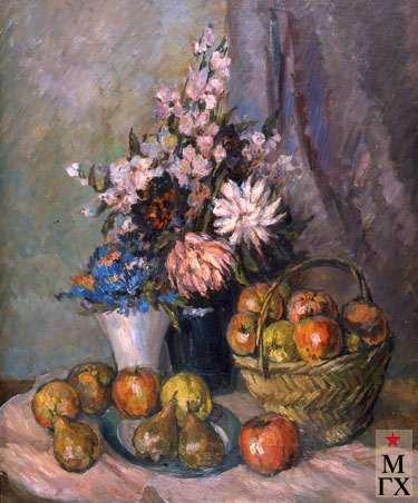 А.М. Нюренберг. Натюрморт с грушами и яблоками в корзине. 1947. Х.М. 98х70.