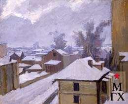 А.М. Нюренберг. Зима на Масловке, панорама. 1950. Х.М. 65х70.